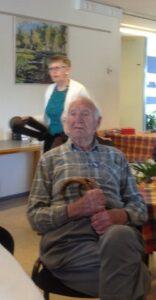 Overlæge Astrup på 102 år som er en flittig gæst i vores møderække, selv en mindre snestorm er ingen hindring